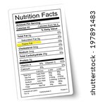 nutrition facts label. fat... | Shutterstock . vector #197891483