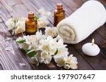 spa setting on wooden... | Shutterstock . vector #197907647