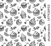 seamless pattern sketch cupcake. | Shutterstock .eps vector #197928953