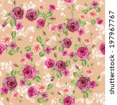 floral pattern on pastel peach... | Shutterstock .eps vector #197967767