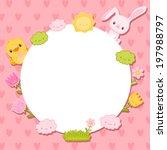 cute lovely card with egg frame ... | Shutterstock .eps vector #197988797