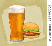 cheesburger with beer grunge... | Shutterstock .eps vector #197997707