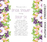 set of invitations with floral... | Shutterstock . vector #198004817