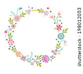floral frame. cute retro... | Shutterstock .eps vector #198012053