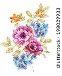 watercolor illustration flowers ... | Shutterstock . vector #198029933