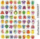 cartoon cute monsters and... | Shutterstock .eps vector #198064097