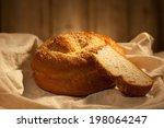 fresh bread on a linen cloth | Shutterstock . vector #198064247