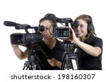 two young women with a video... | Shutterstock . vector #198160307