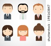 set of colorful office people... | Shutterstock .eps vector #198163847