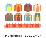 set of gift boxes in different... | Shutterstock .eps vector #198217487