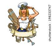 Sexy Pin Up Sailor Girl Label