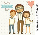 Bright card for father's day. Illustration with dad, son and daughter.