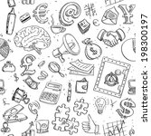 seamless pattern of doodles on... | Shutterstock .eps vector #198300197