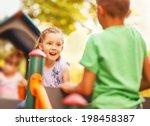cute mixed race kids in park   Shutterstock . vector #198458387