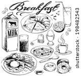 hand drawn breakfast food... | Shutterstock .eps vector #198482543