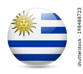 flag of uruguay as round glossy ...