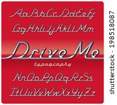 chrome vintage font on red car... | Shutterstock .eps vector #198518087