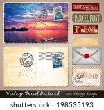 travel vintage postcard design... | Shutterstock . vector #198535193