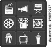 set of 9 cinema vector web and... | Shutterstock .eps vector #198590837
