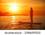 standup paddle board yoga... | Shutterstock . vector #198609503