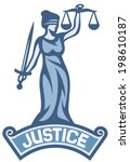 a goddess of justice label  | Shutterstock .eps vector #198610187