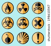 flat style warning signs labels ...