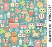 seamless pattern with colorful... | Shutterstock .eps vector #198671057