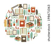 round design element with books ... | Shutterstock .eps vector #198671063