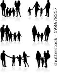 family silhouettes  | Shutterstock .eps vector #198678257