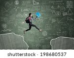 female student jumping in... | Shutterstock . vector #198680537