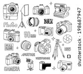 hand drawn photo cameras set 1. ... | Shutterstock .eps vector #198687947