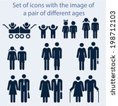 Icon set by age couples of all ages.