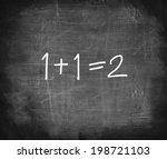 one add one on chalkboard  ...   Shutterstock . vector #198721103