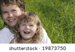 two children portrait smiling... | Shutterstock . vector #19873750