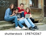 group of teenagers with laptop... | Shutterstock . vector #198742067