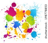 colorful vector ink blots... | Shutterstock .eps vector #198778853
