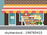vegetarian market  fresh farm... | Shutterstock .eps vector #198785423