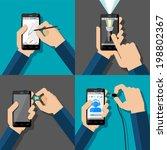 hands holding touchscreen... | Shutterstock .eps vector #198802367