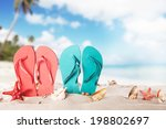 summer concept with colored... | Shutterstock . vector #198802697