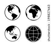 set of earth planet globe web... | Shutterstock .eps vector #198827663