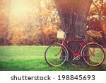 vintage bicycle waiting near... | Shutterstock . vector #198845693