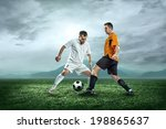 two football players with ball... | Shutterstock . vector #198865637