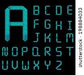 blue diamond font set modern... | Shutterstock .eps vector #198884033