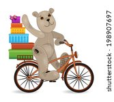 the bear on a bike with gifts | Shutterstock .eps vector #198907697