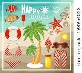 summer beach set. vector  | Shutterstock .eps vector #198954023