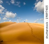 Walking in desert, conceptual; walking away from trouble - stock photo