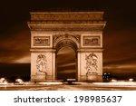 arc de triomphe  paris  france. ... | Shutterstock . vector #198985637