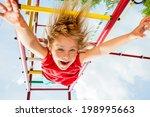 little girl having fun playing...   Shutterstock . vector #198995663