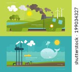 Ecology Concept Vector Illustration for Environment, Green Energy and Nature Pollution Designs. Flat Style.