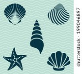 set of various sea shells and... | Shutterstock .eps vector #199046897